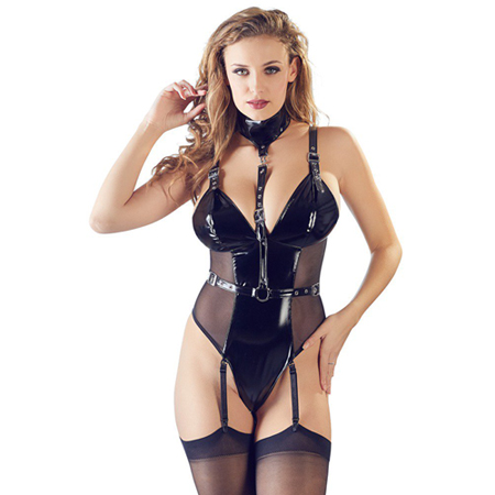 Le Femme - Black Level Lak Body Met Halsband