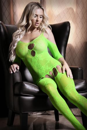 Le Femme - Sheer Fantasy Stargazing Cold Shoulder Jarretel Catsuit - Neon Green